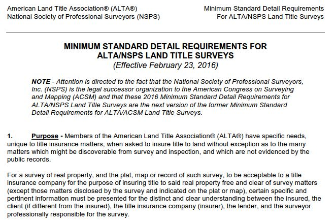 2016 ALTA / NSPS Land title Survey Standards