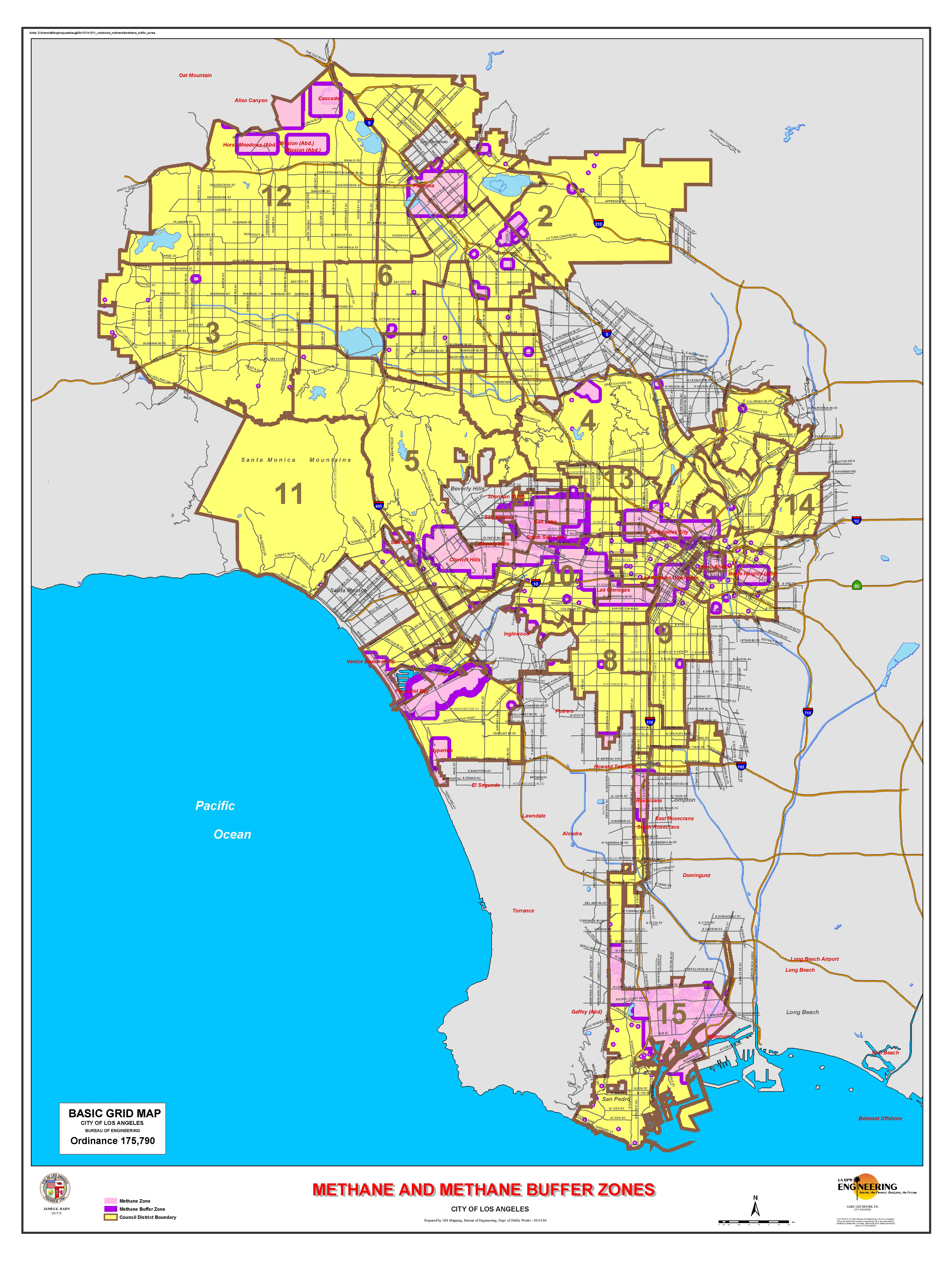 Los Angeles Methane Zone Map